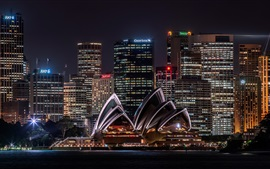 Австралия, Сидней, оперный театр, небоскребы, освещение, ночь