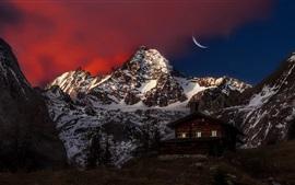 Áustria, pico, montanha, neve, casa de madeira, lua, noite