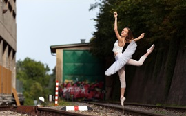 Preview wallpaper Ballerina, dancing girl, railroad