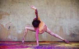 Балерина, счастливая девушка, танец, порошковая краска, красочный