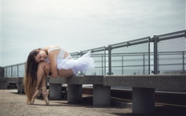 Preview wallpaper Ballerina, long hair girl, stone bench