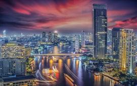 Preview wallpaper Bangkok, Thailand, city night, river, bridge, skyscrapers, lights