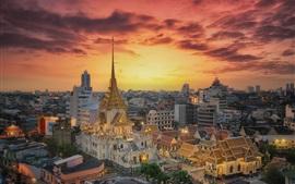 Бангкок, Таиланд, храм, ночь, город, огни