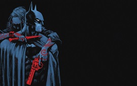 Batman, capa, arma, cuchillo, enemigo, comic