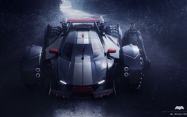 Concepto de Batmobile, noche, batman, lluvia