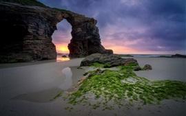 預覽桌布 海灘,海,拱,日落