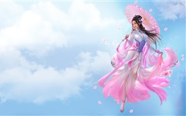 Preview wallpaper Beautiful Chinese girl, fantasy, pink skirt, retro style, umbrella