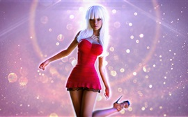 Preview wallpaper Beautiful dancing girl, red skirt, white hair
