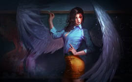 Preview wallpaper Beautiful girl, angel, teacher, wings, fantasy art