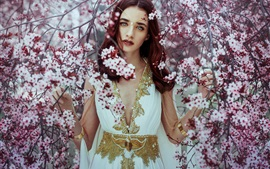 Preview wallpaper Beautiful girl, cherry flowers, tree, spring