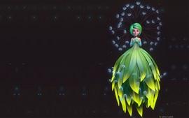 壁紙のプレビュー 美しい女の子、エルフ、緑のスカート、ファンタジーアート