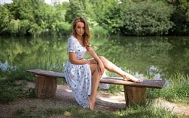 Beautiful girl, skirt, summer, pond