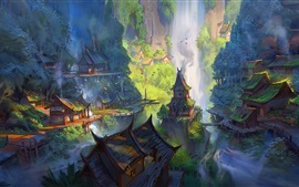 Bela pintura, paisagem de estilo chinês, casas, montanhas, cachoeira