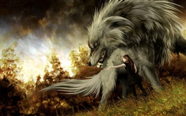 Preview wallpaper Big wolf, girl, art picture