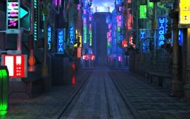 Blade Runner 2049, ciudad futura, calle, noche, luces