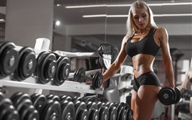 Preview wallpaper Blonde girl, fitness, dumbbells, gym