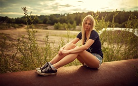 Preview wallpaper Blonde girl, shorts, summer
