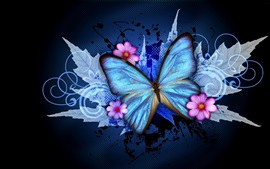 Preview wallpaper Blue butterfly and pink flowers, creative design