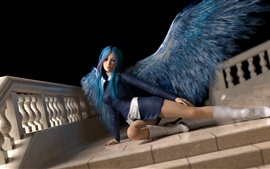 Preview wallpaper Blue hair fantasy girl, angel, wings, pose