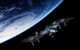 Preview wallpaper Blue planet, satellite, space station