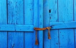 Preview wallpaper Blue wood door, rope