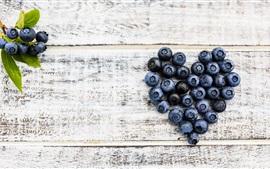 Preview wallpaper Blueberries love heart, wood board