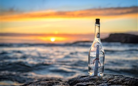 Preview wallpaper Bottle, message, letter, sea, sunset