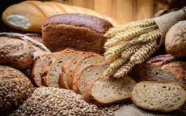 Preview wallpaper Bread slices, spikelets, grain, wheat