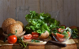 Preview wallpaper Bread, tomatoes, greens
