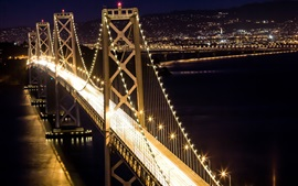 Pont, illumination, nuit, ville