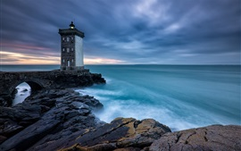 壁紙のプレビュー ブルターニュ、フランス、灯台、海、雲、夕暮れ
