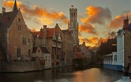 Bruges, bélgica, rio, casas, nuvens, anoitecer