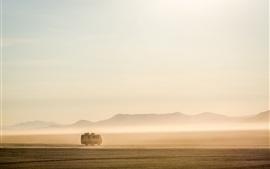 Ônibus, manhã, nevoeiro