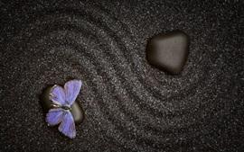 Papillon, pierres, style noir
