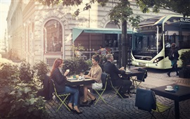 Cafe, street, bus, city