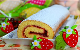 Preview wallpaper Cake roll, powder, strawberry decoration
