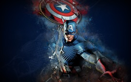 Preview wallpaper Captain America, shield, mask, Marvel comics, art picture