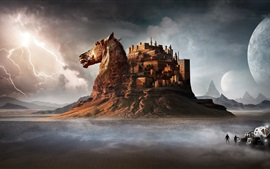 Preview wallpaper Castle, horse, desert, mountains, art design
