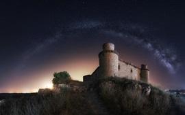 Castillo, noche, estrellado