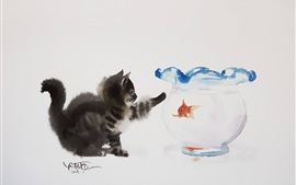 Preview wallpaper Cat and goldfish, watercolor painting