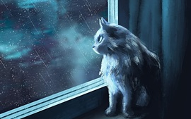 Cat look at the window, rainy, art picture