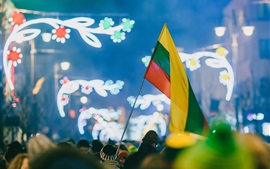 Preview wallpaper Celebration, Kaunas, Lithuania, flag, people