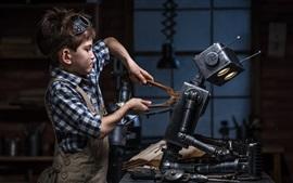 Preview wallpaper Child boy repair robot