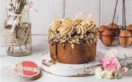 Chocolate cake, eggs, flowers, love heart, Easter