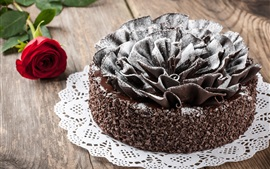 Chocolate cake, red rose