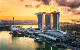 City, Singapore, sea, buildings, sunset