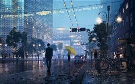 Ciudad, noche, calle, niebla, luces, lluvioso