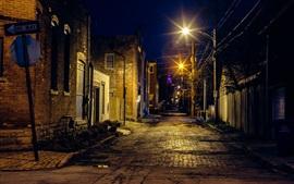 都市、夜、通り、ライト