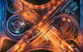 Cidade, estrada, ponte, iluminação, vista de cima