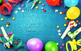 Preview wallpaper Colorful balloons, decoration, ribbon, candy, holiday celebration